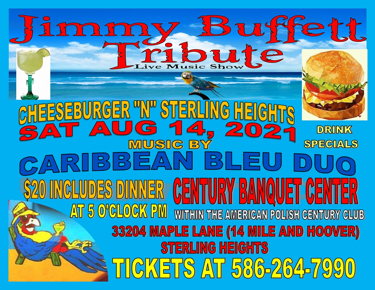 """""""Cheese Burger"""" in Sterling Heights Enjoy the Music of Jimmy Buffet with Caribbean Bleu Duo"""